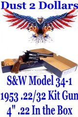 """Gorgeous Smith & Wesson Model 34-1 1953 .22/32 Kit Gun .22 L.R. Revolver with a 4"""" Barrel Mfd in 1977 In Original Box - 1 of 17"""