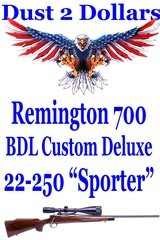 Remington Model 700 BDL Custom Deluxe Sporter Rifle in 22-250 Rem Made in 1978 6x18-50mm AO Scope