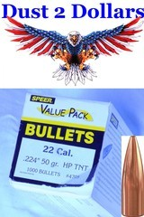 Sealed box of 1,000 Speer TNT 50 Grain HP Hollow Point Bullets .224 22 Caliber 4705 - 1 of 1