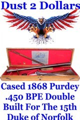 SCARCE Cased J Purdey of London Double Rifle in 450 BPE Manufactured in 1868 for the 15th Duke of Norfolk - 1 of 13