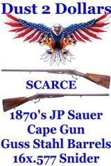 SCARCE 1870's J.P. Sauer Cape Combo Gun 16 Ga x .577 Snider with Guss-Stahl Cast Steel Barrels Excellent Bores NO FFL