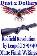 "Clean Redfield Revolution 3-9x40mm Matte Finish Rifle Scope by Leupold Weaver 1"" Quad-Lock Scope Rings"
