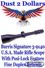 Burris Signature MADE IN THE U.S.A. 3-9x40mm Matte Finish Rifle Scope with Fine Duplex Reticule and Posi-Lock