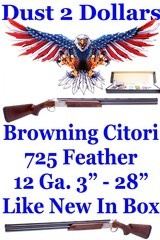 """As New In The Box Browning Citori 725 Feather 12 gauge with 3"""" Chambers 28"""" Barrels and 5 Chokes - 1 of 20"""