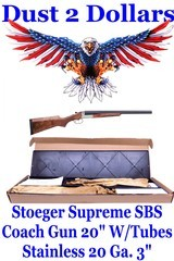 """New In The Box Stoeger Supreme Double Side-by-Side 20 Gauge Coach Gun With Tubes 20"""" Stainless Blued - 1 of 18"""