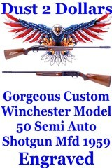 Old School Custom ENGRAVED with Inlays Winchester Model 50 12 Ga Semi Auto Shotgun Mfd 1959