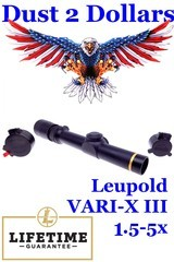 Clean Leupold VARI-X III 1.5-5x Rifle Scope with a Matte Finish and Butler Creek Pop-Up Covers Mint Optics