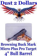"Browning Buckmark Buck Mark Micro Plus Pro Target .22 Pistol 4"" Laminated Rosewood Grips and Box"