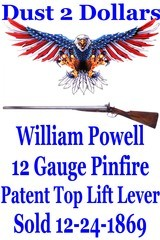RARE William Powell & Son Birmingham 12 Bore Pinfire Top Lift Lever Double Shotgun from 1869 with Factory Letter