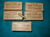 M1 CARBINE, 5 BOXES, UN-ISSUED LC 1943, AMMO....HARD TO FIND