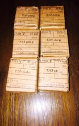 WWII Broomhandle 7.63 cal un opened Military Grade packs of 25