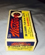 Winchester-Western 30 caliber Luger full box
