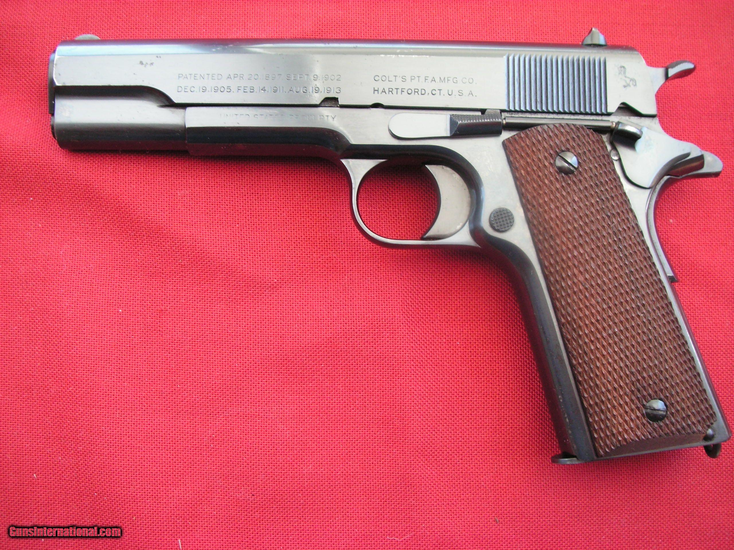 COLT 1911A1 US ARMY 1937 mfg FROM LEFTOVER FROM WWI PARTS IN 98