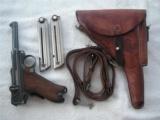 DWM SWISS 1902 TEST CAL. 9mm FAT 4 in. BARREL W/HOLSTER & 2 MAGS