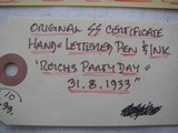 """ORIGINAL SS CERTIFICATE SIGNED BY H. HIMMLER, HAND & LETTERS PEN & INC """"REICH'S PARTY DAY"""" - 4 of 5"""