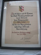 """ORIGINAL SS CERTIFICATE SIGNED BY H. HIMMLER, HAND & LETTERS PEN & INC """"REICH'S PARTY DAY"""" - 1 of 5"""