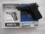 BERETTA MODEL 21A CALIBER .22L.R. LIKE NEW IN BOX ORIGINAL CONDITION