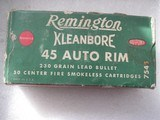 REMINGTON CLEANBORE VINTAGE 45 AUTO RIM RARE AMMO FULL BOX OF 50 ROUNDS - 1 of 19