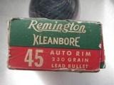 REMINGTON CLEANBORE VINTAGE 45 AUTO RIM RARE AMMO FULL BOX OF 50 ROUNDS - 5 of 19