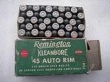 REMINGTON CLEANBORE VINTAGE 45 AUTO RIM RARE AMMO FULL BOX OF 50 ROUNDS - 11 of 19