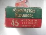 REMINGTON CLEANBORE VINTAGE 45 AUTO RIM RARE AMMO FULL BOX OF 50 ROUNDS - 4 of 19
