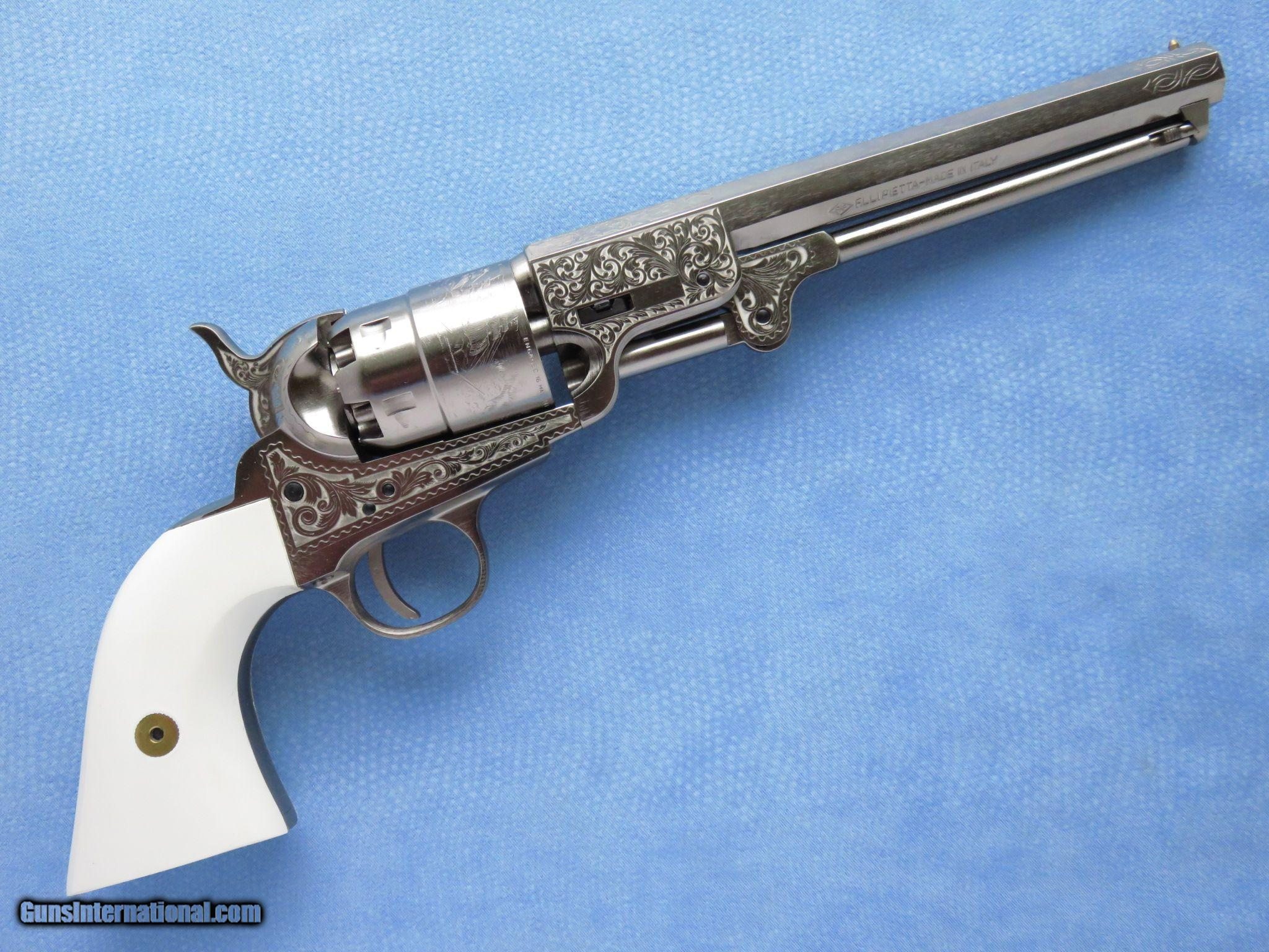 traditions 1851 navy revolver nickel with laser engraving 44