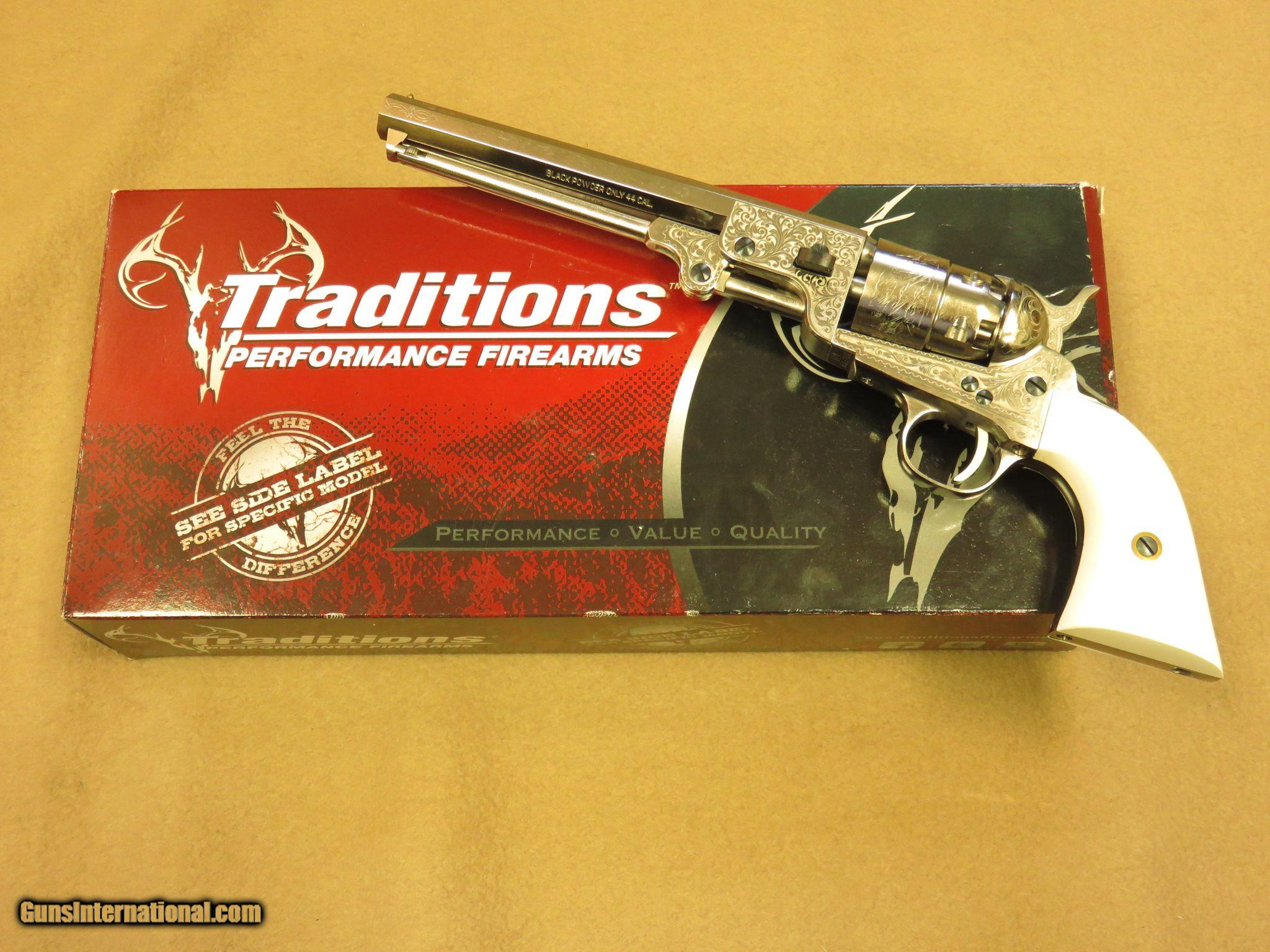Traditions 1851 Navy Revolver, Nickel with Laser Engraving