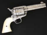 Colt .45 Single Action Army, Larry Peters Engraved, 4 3/4 Inch, Silver Plated