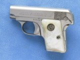 Colt 1908, Nickel with Factory Pearl Grips with Recessed Colt Medallions, Cal. .25 ACP