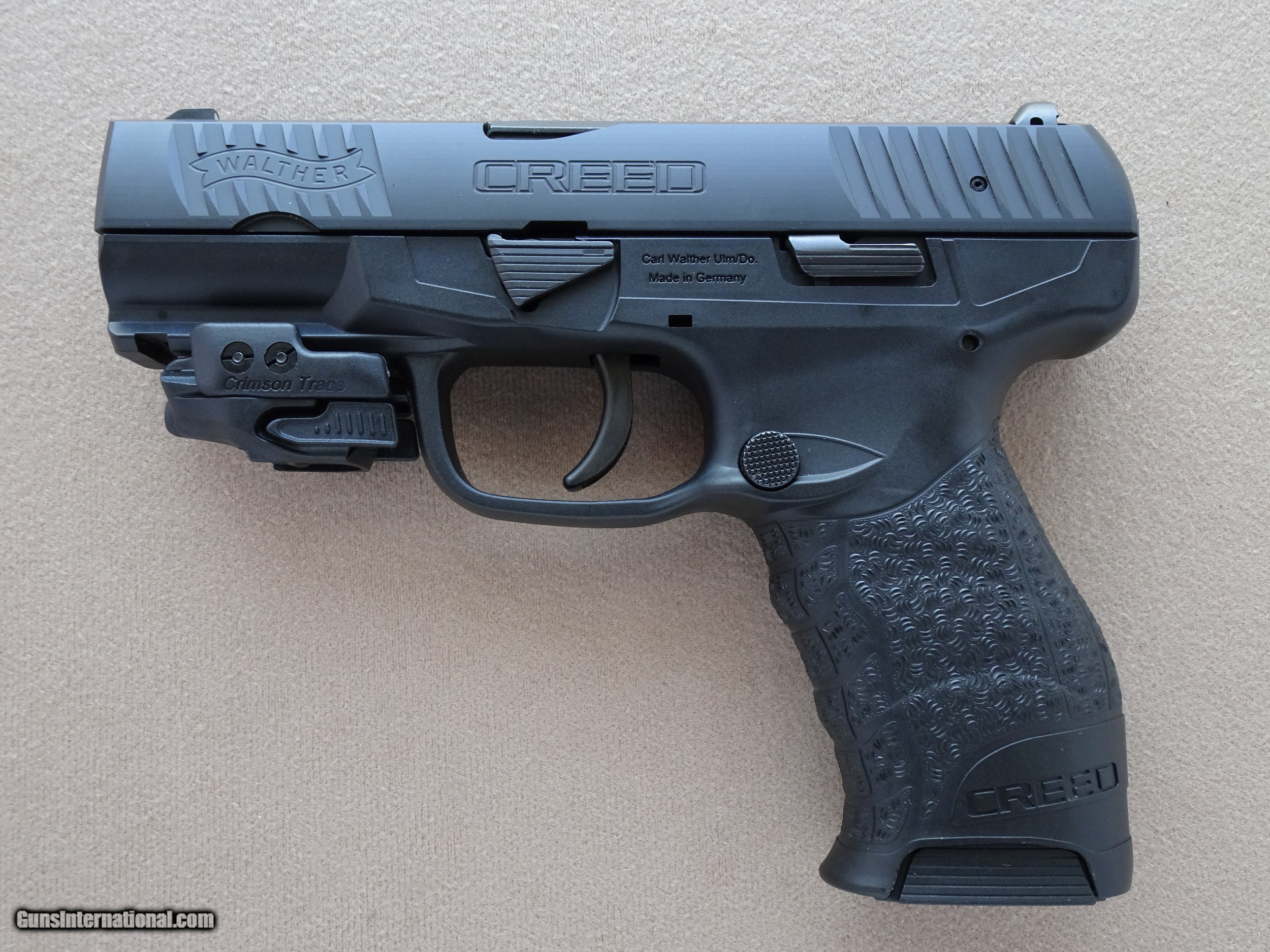 Walther Creed 9mm Pistol w/ Crimson Trace Rail Master Red Laser