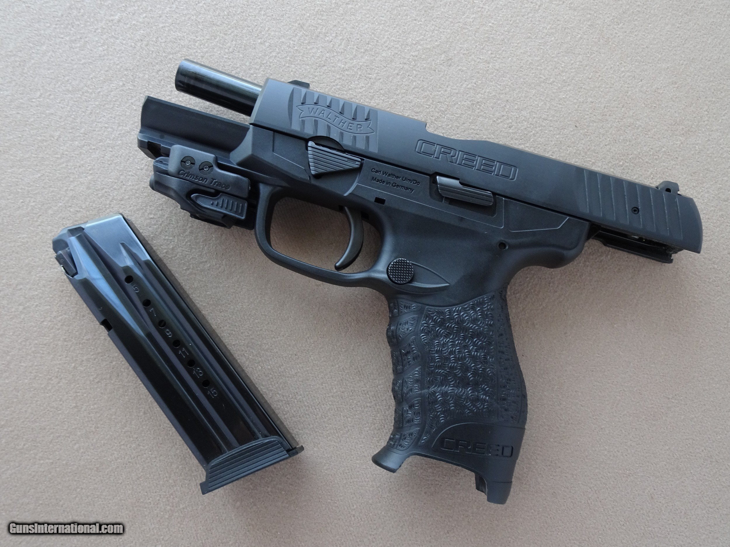 Walther Creed 9mm Pistol w/ Crimson Trace Rail Master Red