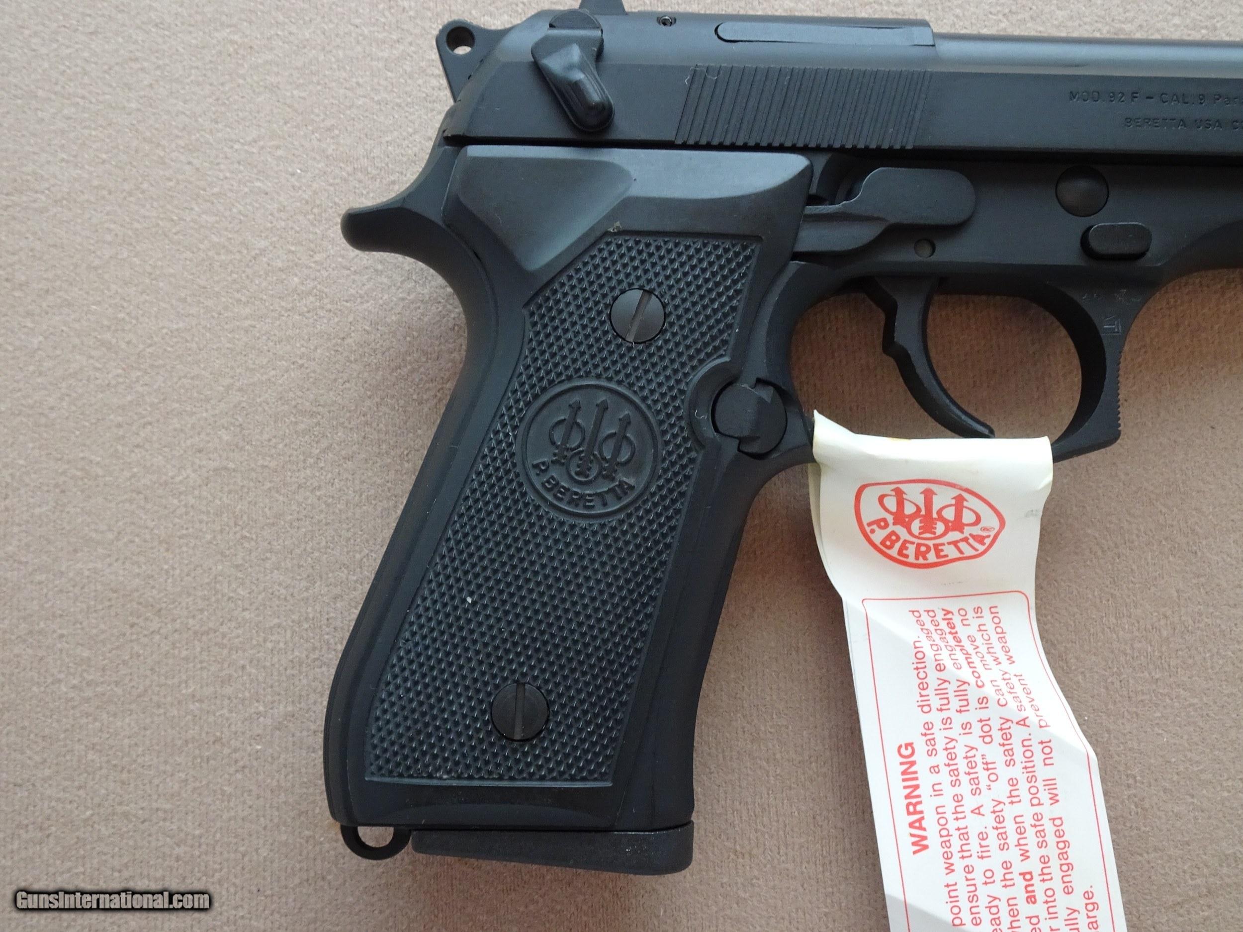 1989 Beretta Model 92F 9mm Pistol w/ Original Box, Paperwork