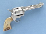 Colt Single Action Army fitted with Stag Grips, Cal. .357 Magnum, 5 1/2 Inch Barrel, Nickel Finished, 3rd Gen.