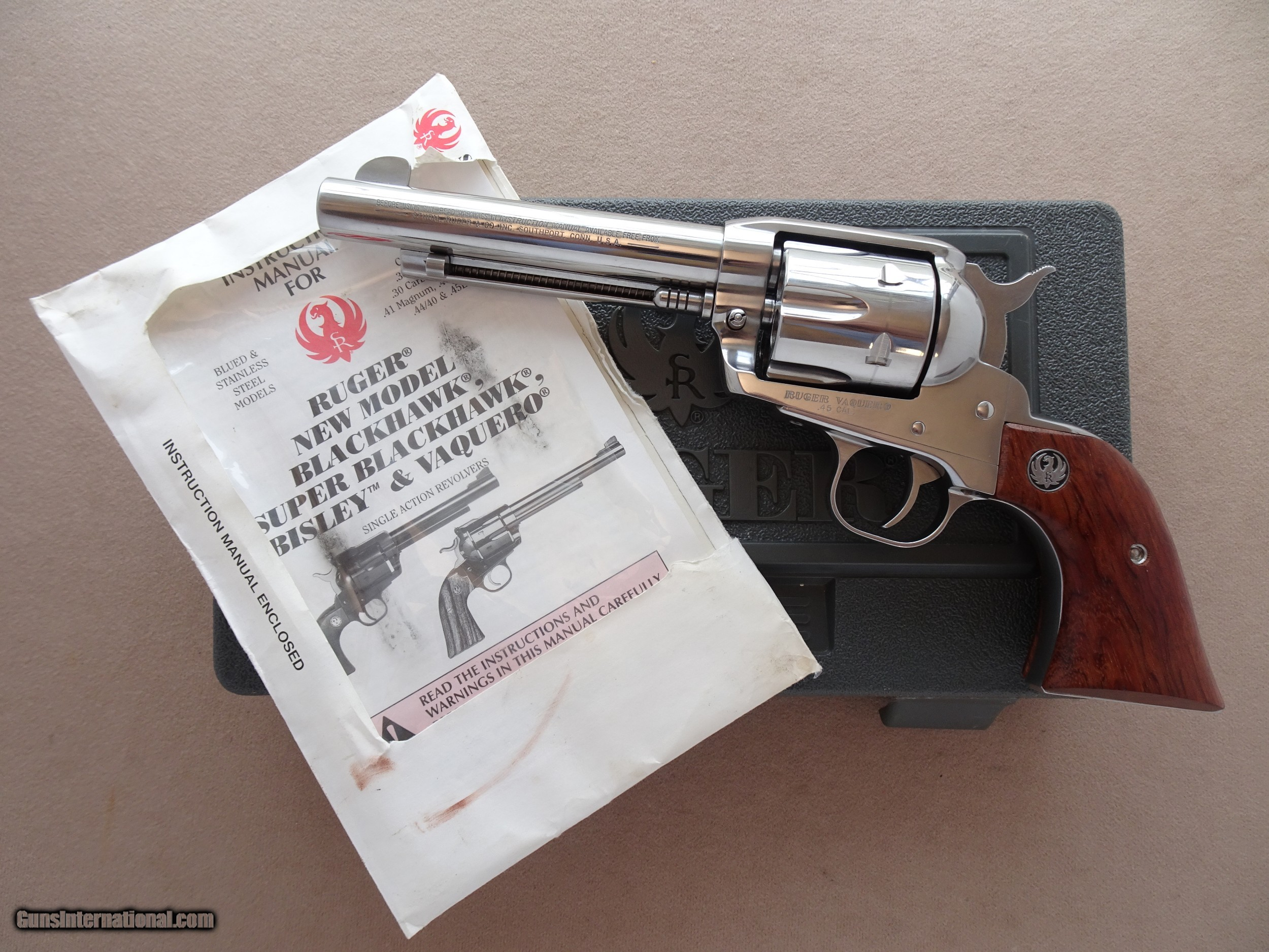 1995 Ruger Stainless Old Model Vaquero 5 5 In 45 Colt W Box Manual Discontinued Excellent Condition
