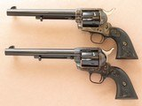 Consecutive Serial Numbered Pair of Colt SAA Frontier Six Shooter's, Cal. .44-40, 7 1/2 Inch Barrels, 2010 Vintage, Black Powder Frames