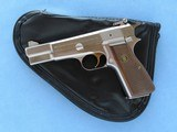 Browning Hi-Power Nickel/Silver Chrome Finish, Belgian Manufactured, Cal. 9mm, with Browning Pistol Rug