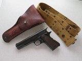 WW2 Remington Rand 1911A1 .45 A.C.P. MFG. 1943 **W/ Belt & Holster Rig** - 1 of 24