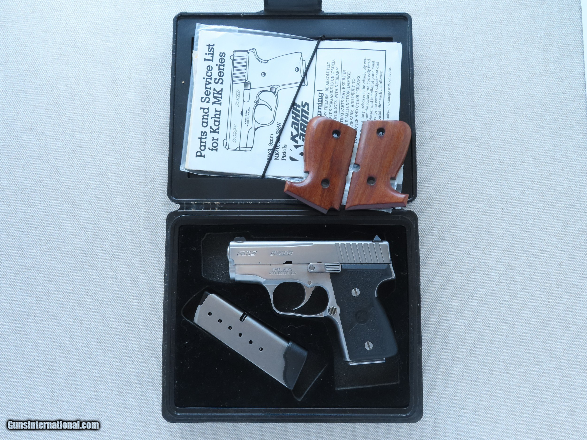Kahr Mk9 Micro Series Elite 98 Stainless 9mm Pistol w/ Box, Manuals