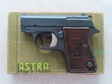 1960 Vintage Astra Cub .22 Short Pistol w/ Original Box, Extra Mag, Cleaning Rod, & Manual