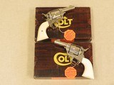 Pair of Colt Sheriffs Models, Consecutive Serial Numbered, Ivory Grips, Nickel Plated, Chambered in .45 LC
