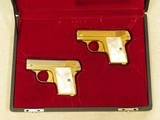 Cased Consecutive Pair of Colt 1908's, Gold Plated with Pearl Grips, Cal. .25 ACP - 17 of 19