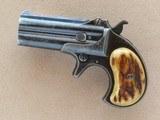 Remington O/U Derringer with Stag Grips, Cal. .41 RF, 1890 Vintage