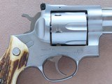 1982 Vintage Ruger Stainless Steel Redhawk .44 Magnum Revolver w/ Spectacular Stag Grips with Ruger Medallions