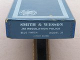 """1969 Vintage 4"""" Smith & Wesson Model 31-1 in .32 S&W Long w/ Original Box & Manuals** 100% Original Beauty ** SOLD - 3 of 25"""