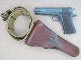 WW2 Remington Rand M1911A1 U.S. Army .45 A.C.P.**W/ Original Holster & Belt** SOLD - 1 of 24