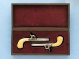 "Cased Pair ""Muff"" Pistols, Belgian, .31 Percussion - 1 of 12"