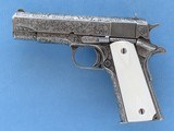 Weldon Lister Engraved Colt Commander Model, Cal. .45 ACP, with Double Diamond Checkered Ivory Grips - 1 of 12