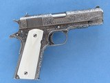 Weldon Lister Engraved Colt Commander Model, Cal. .45 ACP, with Double Diamond Checkered Ivory Grips - 2 of 12