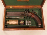 Joseph Egg & Sons, London, O/U Double Barrel .50 Caliber Percussion Pistol, Cased