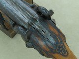 Antique Custom-Made Damascus Double Barrel .50 Caliber Percussion Pistol*Unmarked & Likely European in Origin ** - 11 of 25